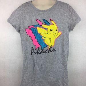 Kids Pokemon Gray Pikachu Graphic T-Shirt Size L